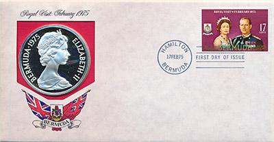 Изображение Подарочные наборы Бермудские острова Визит королевы 1975 Серебро UNC Монета номиналом 25