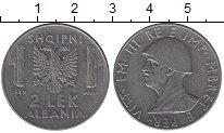 Изображение Монеты Албания 2 лека 1939 Сталь XF