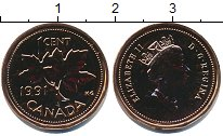 Изображение Монеты Канада 1 цент 1991 Медь UNC