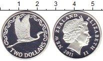 Изображение Монеты Новая Зеландия 2 доллара 2011 Серебро Proof Журавль