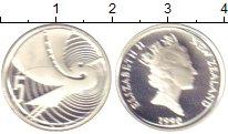 Изображение Монеты Новая Зеландия 5 центов 1990 Серебро Proof Журавль