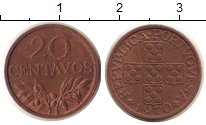 Изображение Монеты Португалия 20 сентаво 1970 Медь VF