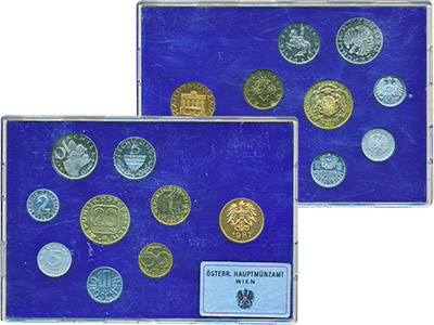 Изображение Подарочные монеты Австрия Набор монет 1987 года 1987  Proof В наборе 8 монет ном