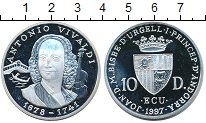Изображение Монеты Андорра 10 динерс 1997 Серебро Proof