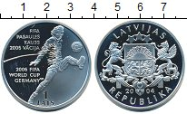 Изображение Монеты Латвия 1 лат 2004 Серебро Proof- ЧМ по футболу 2006