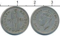 Изображение Монеты Великобритания Родезия 3 пенса 1951 Медно-никель XF