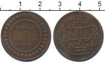 Изображение Монеты Тунис 5 сентим 1908 Медь VF