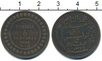 Изображение Монеты Тунис 5 сентим 1908 Бронза VF