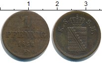 Изображение Монеты Германия Саксония 1 пфенниг 1854 Медь XF