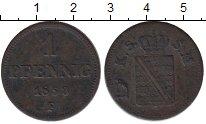 Изображение Монеты Саксония 1 пфенниг 1853 Медь VF