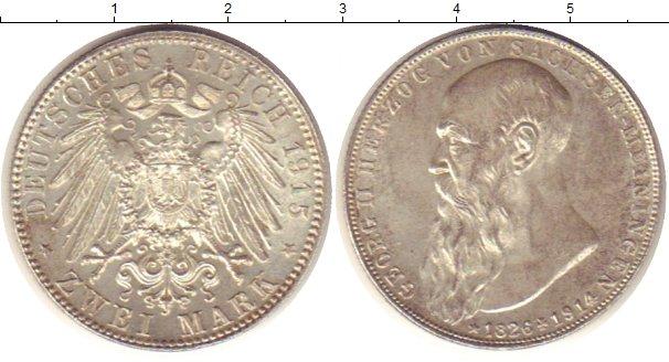Картинка Монеты Саксен-Майнинген 2 марки Серебро 1915