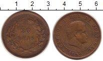 Изображение Монеты Португалия 20 рейс 1892 Бронза VF