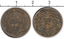Изображение Монеты Тунис 50 сантим 1921 Латунь XF Французский протекто
