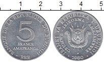 Изображение Монеты Бурунди 5 франков 1980 Алюминий UNC- Герб