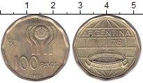 Изображение Монеты Аргентина 100 песо 1978 Латунь UNC Чемпионат  мира  по