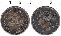 Изображение Монеты Маврикий 20 центов 1877 Серебро XF-