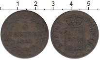 Изображение Монеты Вюртемберг 3 крейцера 1845 Серебро VF