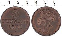 Изображение Монеты Мекленбург-Шверин 3 пфеннига 1861 Медь XF+