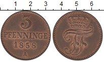 Изображение Монеты Мекленбург-Шверин 3 пфеннига 1858 Медь XF+