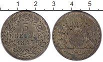 Изображение Монеты Германия Баден 3 крейцера 1843 Серебро XF