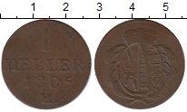 Изображение Монеты Германия Саксония 1 геллер 1805 Медь XF-
