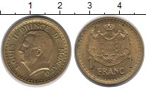 Изображение Монеты Монако 1 франк 1945 Латунь XF Принц  Монако  Луи I