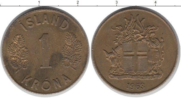 Картинка Монеты Исландия 1 крона Латунь 1963