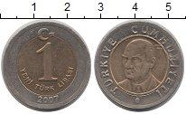 Изображение Монеты Турция 1 лира 2007 Биметалл VF