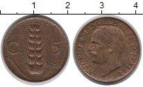 Изображение Монеты Италия 5 сентим 1921 Медь XF