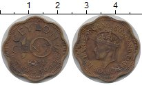 Изображение Монеты Цейлон 10 центов 1944 Медь XF