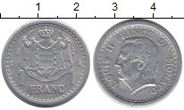 Изображение Монеты Монако 1 франк 1943 Алюминий XF Принц  Монако  Луи I