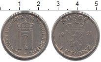 Изображение Монеты Норвегия 1 крона 1951 Медно-никель XF