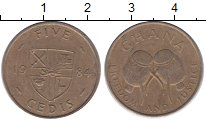 Изображение Монеты Гана 5 седи 1984 Латунь VF