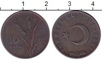 Изображение Монеты Турция 10 куруш 1971 Медь VF