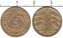 Изображение Монеты Веймарская республика 5 пфеннигов 1936 Латунь XF