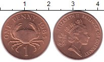 Изображение Монеты Гернси 1 пенни 1985 Медь XF Елизавета II.