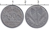 Изображение Монеты Франция 50 сантимов 1942 Алюминий XF