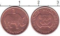 Изображение Монеты Мозамбик 1 сентаво 2006 Медь XF Носорог.