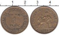 Изображение Монеты Франция 1 франк 1922 Медь XF