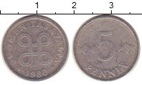 Изображение Монеты Финляндия 5 пенни 1980 Алюминий VF