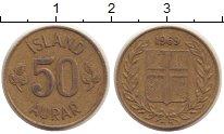 Изображение Монеты Исландия 50 аурар 1969 Латунь VF номинал - герб