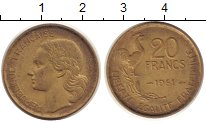 Изображение Монеты Франция 20 франков 1951 Латунь XF Галльский  петух.