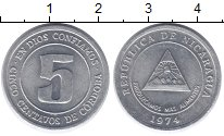 Изображение Монеты Никарагуа 5 сентаво 1974 Алюминий XF