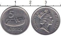 Изображение Монеты Фиджи 5 центов 1992 Медно-никель XF Елизавета II.  Бараб