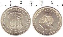 Изображение Монеты ЮАР 20 центов 1963 Серебро UNC