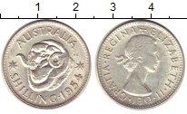 Изображение Монеты Австралия 1 шиллинг 1954 Серебро XF голова барана - Елиз