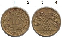 Изображение Монеты Веймарская республика 10 пфеннигов 1929 Латунь XF А