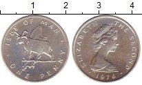 Изображение Монеты Остров Мэн 1 пенни 1976 Серебро UNC