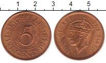 Изображение Монеты Сейшелы 5 центов 1948 Медь UNC