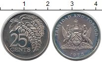 Изображение Монеты Тринидад и Тобаго 25 центов 1975 Медно-никель Proof-